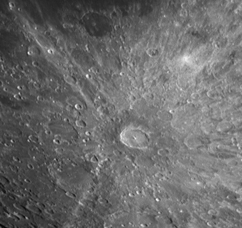 Tycho crater showing rays of ejected material