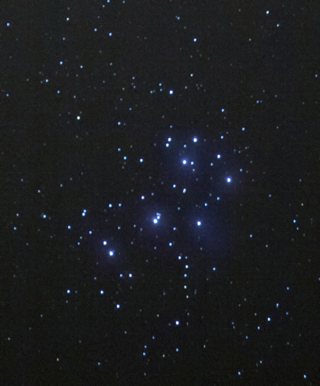 Pleiades Open Cluster M45. Nebulosity increased using exponential transform function in PixInsight.