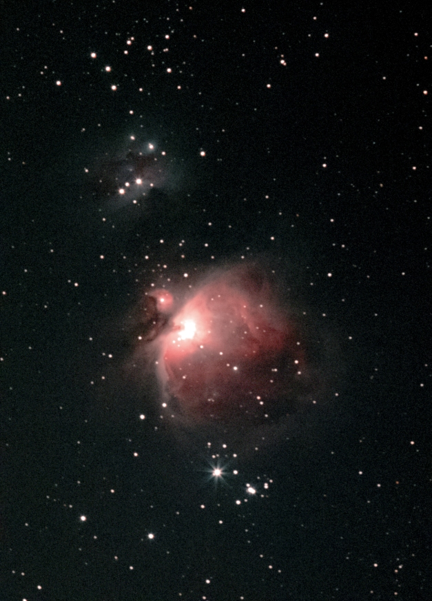 Orion Nebula M42 with M43 [with above NGC 1977 (Running Man nebula) and top left, open cluster NGC 1981]