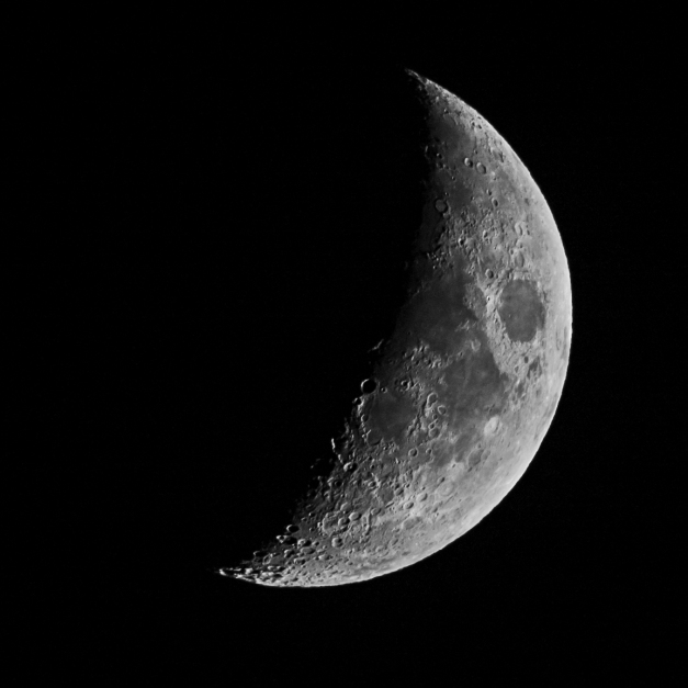 Twilight Moon. 32% waxing crescent. Canon 1100D attached to 480mm f6 telescope (with field flattener) via M48 adapter. 100 ISO and 1/250 second exposure.