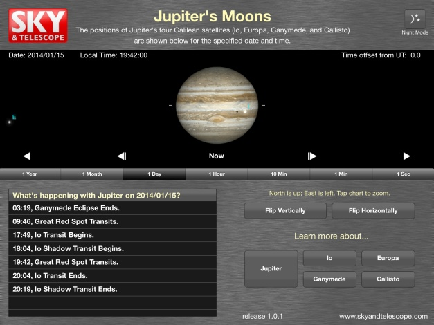 Jupiter's Moons iPAD app screenshot