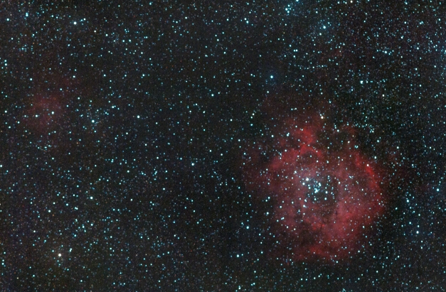 The Rosette nebula (NGC 2237) in Monoceros is a HII region surrounding a central open cluster NGC 2244. Its very difficult to spot the nebulosity in a suburban backyard scope.